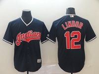 Mens Mlb Cleveland Indians #12 Francisco Lindor Blue Cool Base Player Jersey