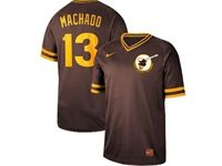 Mens Mlb San Diego Padres #13 Manny Machado Brown Cooperstown Collection Legend V Neck Cool Base Nike Jersey