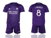 Mens 19-20 Soccer Orlando City Sc Club #8 J.mendez Purple Home Short Sleeve Suit Jersey