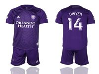 Mens 19-20 Soccer Orlando City Sc Club #14 Dwyer Purple Home Short Sleeve Suit Jersey
