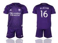 Mens 19-20 Soccer Orlando City Sc Club #16 Kljestan Purple Home Short Sleeve Suit Jersey
