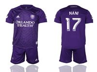 Mens 19-20 Soccer Orlando City Sc Club #17 Nani Purple Home Short Sleeve Suit Jersey
