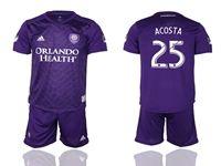 Mens 19-20 Soccer Orlando City Sc Club #25 Acosta Purple Home Short Sleeve Suit Jersey