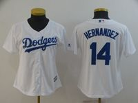 Women Mlb Los Angeles Dodgers #14 Enrique Hernandez White Cool Base Jersey