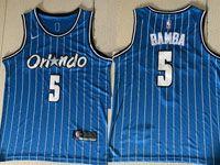 Mens Nba Orlando Magic #5 Mohamed Bamba Blue Stripe Round Neck Swingman Jersey