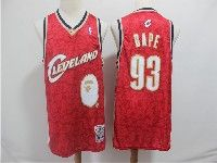 Mens Nba Cleveland Cavaliers #93 Bape Red Hardwood Classics Mitchell&ness Jersey