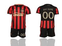 Mens 19-20 Soccer Atlanta United Club (custom Made) Red And Black Stripe Home Short Sleeve Suit Jersey