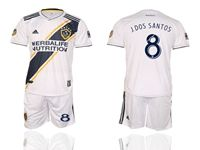 Mens 19-20 Soccer Galaxy Club #8 Jonathan Dos Santos White Home Short Sleeve Suit Jersey