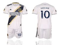 Mens 19-20 Soccer Galaxy Club #10 Giovani Dos Santos White Home Short Sleeve Suit Jersey