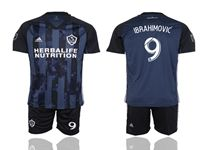 Mens 19-20 Soccer Galaxy Club #9 Zlatan Ibrahimovic Blue Away Short Sleeve Suit Jersey