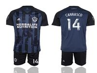 Mens 19-20 Soccer Galaxy Club #14 Carrasco Blue Away Short Sleeve Suit Jersey