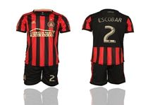 Mens 19-20 Soccer Atlanta United Club #2 Escobar Red And Black Stripe Home Short Sleeve Suit Jersey