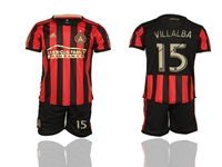 Mens 19-20 Soccer Atlanta United Club #15 Villalba Red And Black Stripe Home Short Sleeve Suit Jersey