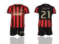 Mens 19-20 Soccer Atlanta United Club #21 Bello Red And Black Stripe Home Short Sleeve Suit Jersey