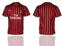 Mens 19-20 Soccer Ac Milan Club ( Custom Made ) Red And Black Stripe Home Thailand Jersey