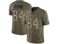 Mens Nfl Las Vegas Raiders #84 Antonio Brown Olive Camo Carson Salute To Service Limited Jersey