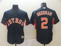 Mens 2019 Mlb Houston Astros #2 Alex Bregman Navy Cool Base Player Jersey