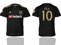Mens 19-20 Soccer Los Angeles Fc Club #10 Carlos Vela Black Home Short Sleeve Thailand Jersey