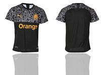 Mens 19-20 Soccer Olympique De Marseille Club ( Custom Made ) Black Away Short Sleeve Thailand Jersey