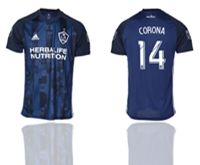 Mens 19-20 Soccer Galaxy Club #14 Corona Blue Away Short Sleeve Thailand Jersey