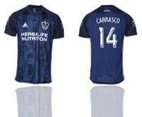 Mens 19-20 Soccer Galaxy Club #14 Carrasco Blue Away Short Sleeve Thailand Jersey