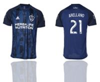 Mens 19-20 Soccer Galaxy Club #21 Arellano Blue Away Short Sleeve Thailand Jersey