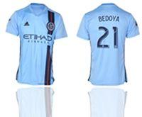 Mens 19-20 Soccer New York Fc Club #21 Bedoya Blue Home Short Sleeve Thailand Jersey