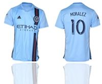 Mens 19-20 Soccer New York Fc Club #10 Maximiliano Moralez Blue Home Short Sleeve Thailand Jersey