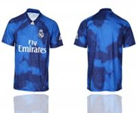 Mens 19-20 Soccer Real Madrid Club ( Custom Made ) Blue Away Short Sleeve Thailand Jersey