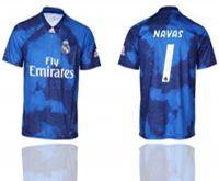 Mens 19-20 Soccer Real Madrid Club #1 Keylor Navas Blue Away Short Sleeve Thailand Jersey