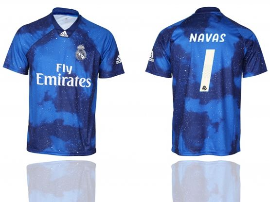 Mens 19-20 Soccer Real Madrid Club #1 Keylor Navas Blue Away Short Sleeve Thailand Jersey