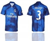 Mens 19-20 Soccer Real Madrid Club #3 Vallego Blue Away Short Sleeve Thailand Jersey