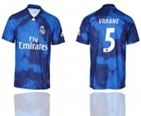 Mens 19-20 Soccer Real Madrid Club #5 Raphael Varane Blue Away Short Sleeve Thailand Jersey