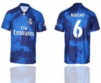 Mens 19-20 Soccer Real Madrid Club #6 Nacho Blue Away Short Sleeve Thailand Jersey