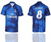 Mens 19-20 Soccer Real Madrid Club #8 Toni Kroos Blue Away Short Sleeve Thailand Jersey