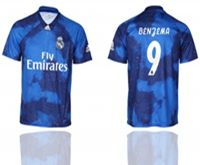 Mens 19-20 Soccer Real Madrid Club #9 Karim Benzema Blue Away Short Sleeve Thailand Jersey