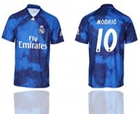 Mens 19-20 Soccer Real Madrid Club #10 Luka Modric Blue Away Short Sleeve Thailand Jersey