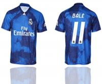 Mens 19-20 Soccer Real Madrid Club #11 Gareth Bale Blue Away Short Sleeve Thailand Jersey