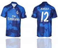 Mens 19-20 Soccer Real Madrid Club #12 Marcelo Blue Away Short Sleeve Thailand Jersey