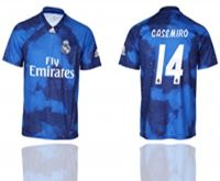 Mens 19-20 Soccer Real Madrid Club #14 Casemiro Blue Away Short Sleeve Thailand Jersey