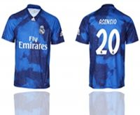 Mens 19-20 Soccer Real Madrid Club #20 Marco Asensio Blue Away Short Sleeve Thailand Jersey