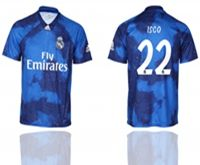 Mens 19-20 Soccer Real Madrid Club #22 Isco Blue Away Short Sleeve Thailand Jersey