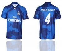 Mens 19-20 Soccer Real Madrid Club #4 Sergio Ramos Blue Away Short Sleeve Thailand Jersey