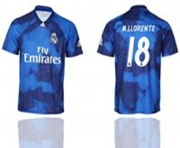 Mens 19-20 Soccer Real Madrid Club #18 M.llorente Blue Away Short Sleeve Thailand Jersey