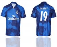 Mens 19-20 Soccer Real Madrid Club #19 Achrat Blue Away Short Sleeve Thailand Jersey