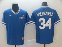 Mens Mlb Los Angeles Dodgers #34 Fernando Valenzuela Blue Cooperstown Collection Legend V Neck Cool Base Nike Jersey