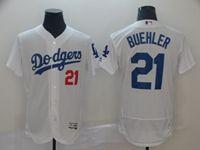 Mens Mlb Los Angeles Dodgers #21 Walker Buehler White Flex Base Jersey