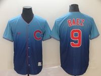 Mens Mlb Chicago Cubs #9 Javier Baez Blue Nike Drift Cool Base Jersey