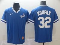 Mens Mlb Los Angeles Dodgers #32 Sandy Koufax Blue Cooperstown Collection Legend V Neck Cool Base Nike Jersey