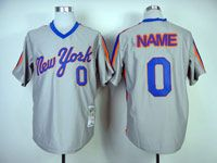 Mens Mlb New York Mets Custom Made Gray Pullover Throwbacks Jersey